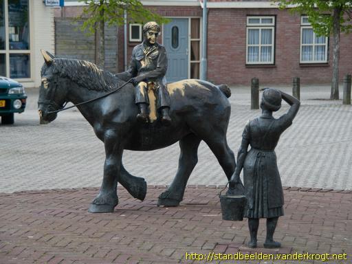 Boer te paard en boerin